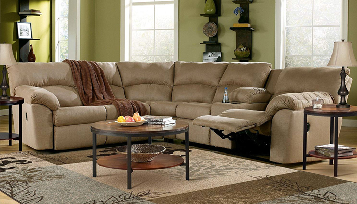 Ashley Amazon Mocha Reclining Sectional Sofa