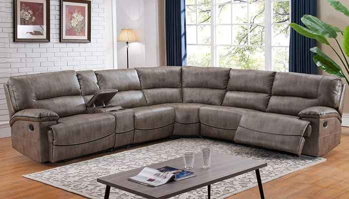 Donovan 6-Piece Sectional Sofa With 3 Recliners