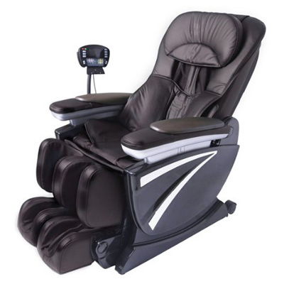 Full Body Zero Gravity Shiatsu Brown Massage Chair Recliner Soft 3D Hand Massage EC01