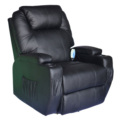 HomCom Deluxe Heated Vibrating PU Leather Massage Recliner Chair