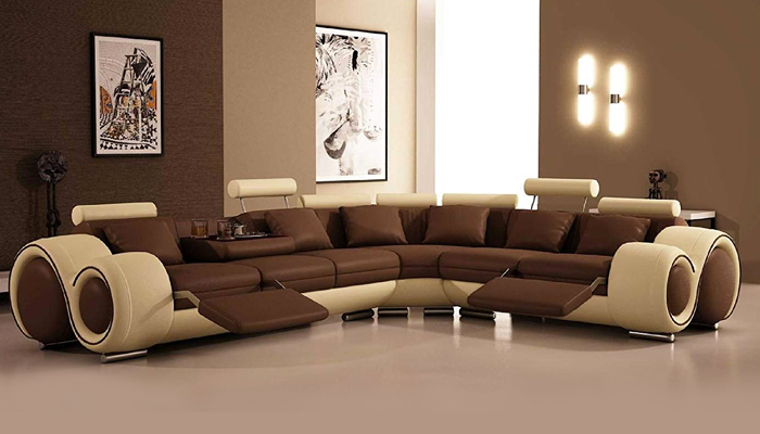 VIG Furniture Bonded Leather Sectional Sofa With Recliners